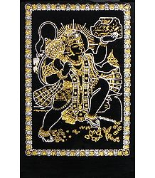Hanuman Carrying Gandhamadan Parvat- (Golden and Silver Glitter Painting)