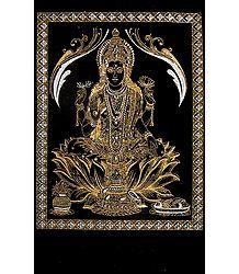 Goddess Lakshmi - (Silver and Golden Glitter Painting)