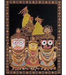 Jagannath, Balaram, Subhadra (Glitter Painting)