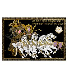 Krishna and Arjuna on Chariot - Silver and Golden Glitter Painting