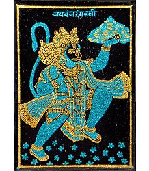 Hanuman Carrying Gandhamadan Parvat- (Cyan and Golden Glitter Painting)