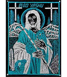 Jesus Christ - (Blue and Silver Glitter Painting)