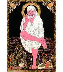 Shirdi Sai Baba - (Silver and Golden Glitter Painting)
