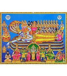 Vishnu in Anantashayan and Being Prayed by Gods and Goddesses - Poster