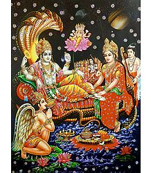 Vishnu, Lakshmi and Other Gods - Glitter Poster