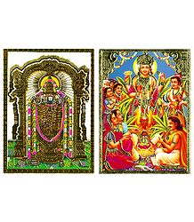 Lord Venkateshwara and Satyanarayan - Set of 2 Posters