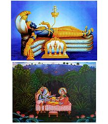 Anantashayan Vishnu and Radha Krishna - Set of 2 Posters