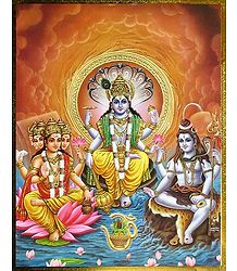 The Trinity - Brahma, Vishnu and Shiva - Poster