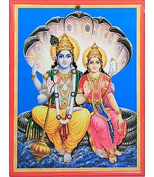 Vishnu with Lakshmi on Cardboard - Wall Hanging