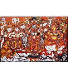 Vishnu and Lakshmi During Samudra Manthan - Poster