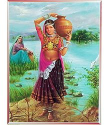 Gujrati Tribal Girl Carrying Water