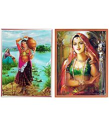 Tribal Girl Carrying Water and Princess - Set of 2 Posters