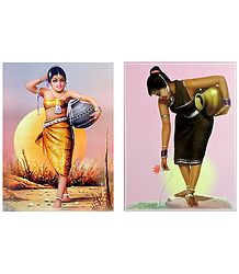 Tribal Girls Carrying Water - Set of 2 Posters