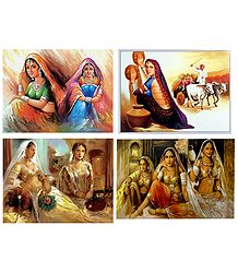 Rajasthani Ladies - Set of 4 Posters