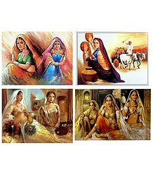 Rajasthani Ladies - Set of 4 Posters