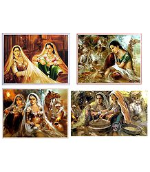 Rajasthani Women - Set of 4 Posters