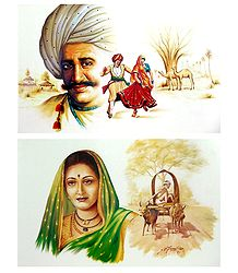 Rural People of India - Set of 2 Unframed Posters