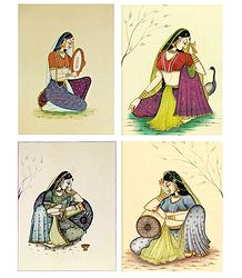Ragini and Rajput Women - Set of 4 Posters