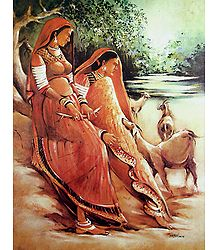 Village Women with Goats - Poster