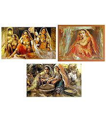 Rajasthani Women and Bride - Set of 3 Posters