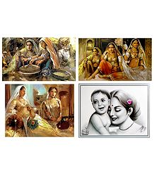 Rajasthani Women, Princess and Mother and Child - Set of 4 Posters