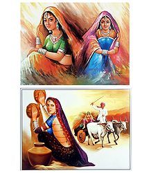 Rajasthani Ladies - Set of 2 Posters