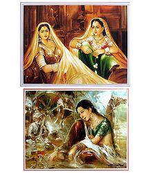 Rajasthani Women - Set of 2 Posters