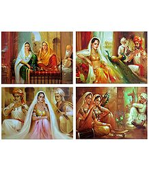 Rajasthani Beauties - Set of 4 Unframed Posters