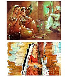 Rajasthani Women - Set of 2 Unframed Posters