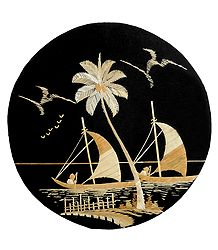 Rowing Boats - Bamboo Strands Picture on Cardboard