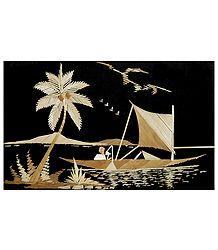 Landscape - Bamboo Strands Picture on Cardboard
