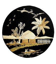 Village Scene - Bamboo Strands Picture on Cardboard