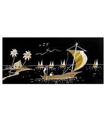 Ferrying Passengers - Bamboo Strands Picture on Cardboard