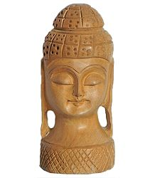 Face of Buddha - Wood Statue