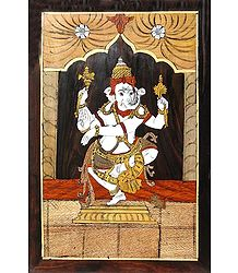 Wood Inlay of Dancing Ganesha - Wall Hanging