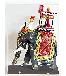King Sitting on Royal Elephant with Mahut (Encased in a Acrylic Box) -Kondapalli Doll