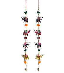 Pair of Colorful Wood Elephants with Beads - Wall Hanging