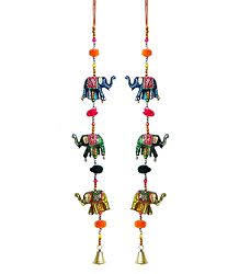 Set of 2 Colorful Wood Elephants with Beads - Wall Hanging