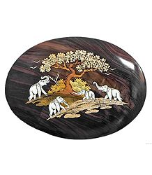 Elephant Family - Inlaid Rosewood Wall Hanging