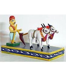 Farmer Ploughing - Kondapalli Dolls