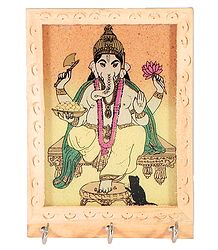 Crushed Real Gemstone Painted Ganesha on Wooden Key Rack with Three Hooks - Wall Hanging