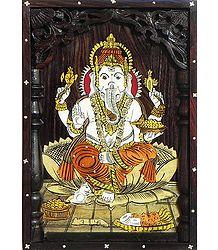 Lord Ganesha - Inlaid Rosewood Wall Hanging