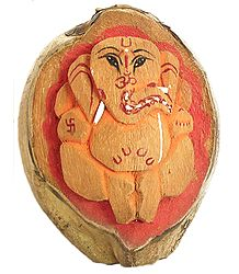 Buy Carved Ganesha on Coconut