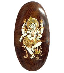 Dancing Ganesha - Inlaid Rosewood Wall Hanging