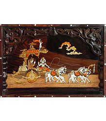 Lord Krishna Preaching Gita to Arjuna During Kurukshetra War - Inlaid Wood Wall Hanging