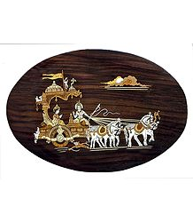 Gita Updesh - Inlaid Wood Wall Hanging