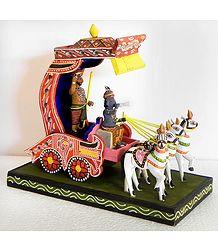 Krishna and Arjuna on a Chariot during Kurukshetra War in Mahabharata - Kondapalli Doll