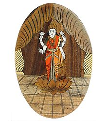 Wood Inlay of Goddess Lakshmi - Wall Hanging