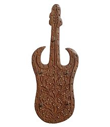 Wood Carved Guitar with 5 Hooks Key Hanger - Wall Hanging