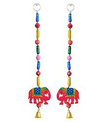 Hanging Elephants wiith Colorful Wooden Beads